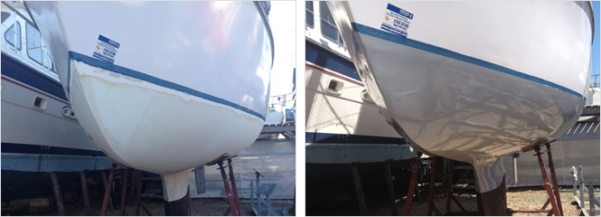 Osmosis treatment to Westerly at Hamble Point, boat was peeled and blasted, then rebuilt.